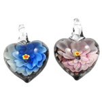 Innen Blume Lampwork Anhänger, Herz, gemischte Farben, 32x30x17mm, Bohrung:ca. 8mm, 12PCs/Box, verkauft von Box