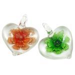 Innen Blume Lampwork Anhänger, Herz, gemischte Farben, 38x33x11mm, Bohrung:ca. 7mm, 12PCs/Box, verkauft von Box
