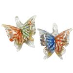 Innen Blume Lampwork Anhänger, Schmetterling, gemischte Farben, 40x43x14mm, Bohrung:ca. 8x7mm, 12PCs/Box, verkauft von Box