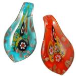 Millefiori Scheibe Glas Anhänger, Lampwork, Blatt, Goldsand, gemischte Farben, 33x62x13mm, Bohrung:ca. 8mm, 12PCs/Box, verkauft von Box
