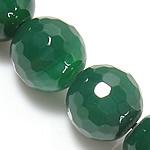 Natürliche grüne Achat Perlen, Grüner Achat, rund, facettierte, grün, 14mm, Bohrung:ca. 1.2-1.5mm, Länge:ca. 15 ZollInch, 5SträngeStrang/Menge, verkauft von Menge