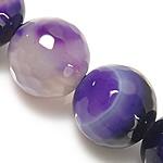 Natürliche violette Achat Perlen, Violetter Achat, rund, facettierte & Streifen, 6mm, Bohrung:ca. 0.8-1mm, Länge:ca. 14.5 ZollInch, 5SträngeStrang/Menge, verkauft von Menge