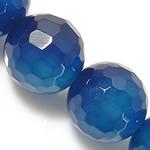 Natürliche blaue Achat Perlen, Blauer Achat, rund, facettierte, 6mm, Bohrung:ca. 0.8-1mm, Länge:ca. 15 ZollInch, 5SträngeStrang/Menge, verkauft von Menge