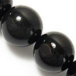 Natürliche schwarze Achat Perlen, Schwarzer Achat, rund, 6mm, Bohrung:ca. 0.8-1mm, verkauft per ca. 15 ZollInch Strang