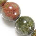Unakit Perlen, Unakite, rund, natürlich, 12mm, Bohrung:ca. 1.2mm, Länge:ca. 15.5 ZollInch, 10SträngeStrang/Menge, ca. 32PCs/Strang, verkauft von Menge