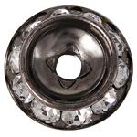 Messing Zwischenperlen, Rondell, metallschwarz plattiert, mit Strass, frei von Nickel, Blei & Kadmium, 15x15x3.80mm, Bohrung:ca. 3mm, 100PCs/Tasche, verkauft von Tasche