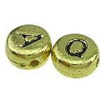 ABS-Kunststoff Alphabet Perlen, ABS Kunststoff, Münze, Goldfarbe, 7x3mm, Bohrung:ca. 1mm, 3600PCs/Tasche, verkauft von Tasche