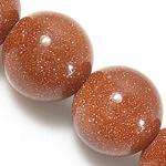 Goldstein Perlen, Goldsand, rund, natürlich, 8mm, Bohrung:ca. 1mm, Länge:ca. 14.5 ZollInch, 10SträngeStrang/Menge, ca. 48PCs/Strang, verkauft von Menge