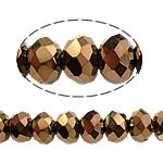 Rondell Kristallperlen, Kristall, AA grade crystal, Kristall Dorado, 8x10mm, Bohrung:ca. 1.5mm, Länge:22 ZollInch, 10SträngeStrang/Tasche, verkauft von Tasche