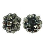 Harz Strass Perlen, rund, 12x14mm, Bohrung:ca. 2mm, 100PCs/Tasche, verkauft von Tasche