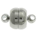 Messing Magnetverschluss, Trommel, Platinfarbe platiniert, Einzelstrang, frei von Nickel, Blei & Kadmium, 11x7mm, Bohrung:ca. 1.7mm, 100PCs/Tasche, verkauft von Tasche