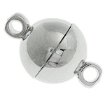 Messing Magnetverschluss, rund, Platinfarbe platiniert, Einzelstrang, frei von Nickel, Blei & Kadmium, 8mm, Bohrung:ca. 1.8mm, 100PCs/Tasche, verkauft von Tasche