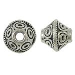 Zink Legierung Perlen Schmuck, Zinklegierung, Doppelkegel, antik silberfarben plattiert, frei von Nickel, Blei & Kadmium, 7x6mm, Bohrung:ca. 1.5mm, ca. 810PCs/kg, verkauft von kg