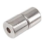 Magnetverschluss Schmuck , Magnetische Hämatit, Zylinder, Platinfarbe platiniert, 4.50x4.50mm, Bohrung:ca. 1-1.5mm, 100PCs/Tasche, verkauft von Tasche