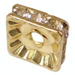 Strass Zwischenstück, Messing, Squaredelle, goldfarben plattiert, mit Strass, frei von Nickel, Blei & Kadmium, 10x10x3.20mm, Bohrung:ca. 2mm, 100PCs/Tasche, verkauft von Tasche