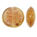 Goldsand Lampwork Perlen, flache Runde, Bernstein, 20x10mm, Bohrung:ca. 1.5mm, 100PCs/Tasche, verkauft von Tasche