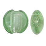 Silberfolie Lampwork Perlen, flache Runde, grün, 12x8mm, Bohrung:ca. 1.5mm, 100PCs/Tasche, verkauft von Tasche