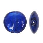 Silberfolie Lampwork Perlen, flache Runde, tiefblau, 29x13mm, Bohrung:ca. 2mm, 100PCs/Tasche, verkauft von Tasche