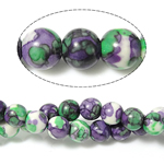 Regen Blumen Stein Perlen, rund, 4mm, Bohrung:ca. 0.8mm, Länge:ca. 15 ZollInch, 10SträngeStrang/Menge, ca. 90PCs/Menge, verkauft von Menge