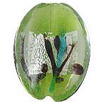 Silberfolie Lampwork Perlen, oval, grün, 24x32x12mm, Bohrung:ca. 2mm, 100PCs/Tasche, verkauft von Tasche