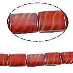 Innerer Twist Lampwork Perlen, Rechteck, rot, 16x21x9mm, Bohrung:ca. 2mm, 100PCs/Tasche, verkauft von Tasche