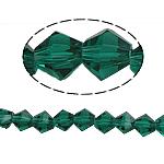 Doppelkegel Kristallperlen, Kristall, facettierte, smaragdgrün, 6x6mm, Bohrung:ca. 1mm, Länge:10.5 ZollInch, 10SträngeStrang/Tasche, verkauft von Tasche