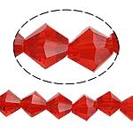 Doppelkegel Kristallperlen, Kristall, facettierte, Siam, 8x8mm, Bohrung:ca. 1.5mm, Länge:ca. 10.5 ZollInch, 10SträngeStrang/Tasche, verkauft von Tasche