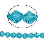 Doppelkegel Kristallperlen, Kristall, facettierte, Aquamarin, 6x6mm, Bohrung:ca. 1mm, Länge:10.5 ZollInch, 10/