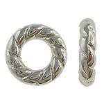 Verkupfertes Kunststoff-Perlen, Verkupferter Kunststoff, Kreisring, Platinfarbe platiniert, großes Loch, frei von Nickel, Blei & Kadmium, 15x3.50mm, Bohrung:ca. 8mm, 5Taschen/Menge, verkauft von Menge