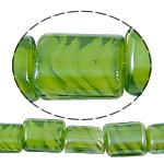 Innerer Twist Lampwork Perlen, Rechteck, grün, 12x15x8mm, Bohrung:ca. 2mm, Länge:18.5 , 5SträngeStrang/Tasche, verkauft von Tasche