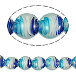 Innerer Twist Lampwork Perlen, flache Runde, 20x10mm, Bohrung:ca. 2mm, Länge:14.5 ZollInch, 5SträngeStrang/Tasche, verkauft von Tasche
