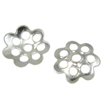 Eisen Perlenkappen, Blume, silberfarben plattiert, frei von Blei & Kadmium, 5.50x1mm, Bohrung:ca. 1mm, 10000PCs/Tasche, verkauft von Tasche