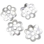 Eisen Perlenkappen, Blume, silberfarben plattiert, frei von Nickel, Blei & Kadmium, 6x1mm, Bohrung:ca. 0.5mm, 10000PCs/Tasche, verkauft von Tasche