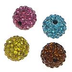 Strass Ton befestigte Perlen, Lehm pflastern, rund, mit 46 Stück Strass, gemischte Farben, 8mm, Bohrung:ca. 2mm, 20PCs/Tasche, verkauft von Tasche
