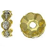 Strass Zwischenstück, Messing, Rondell, goldfarben plattiert, mit Strass, frei von Nickel, Blei & Kadmium, 10x10x4mm, Bohrung:ca. 2.3mm, 500PCs/Tasche, verkauft von Tasche