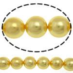 Südsee Muschelperlen, rund, gelb, 10mm, Bohrung:ca. 0.5mm, 39PCs/Strang, verkauft per 16 ZollInch Strang