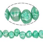 Barock kultivierten Süßwassersee Perlen, Natürliche kultivierte Süßwasserperlen, grün, Grade A, 7-8mm, Bohrung:ca. 0.8mm, verkauft per 14.5 ZollInch Strang