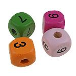 Holzperlen, Holz, Würfel, gemischte Farben, 10mm, Bohrung:ca. 3mm, 100PCs/Tasche, verkauft von Tasche