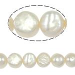 Barock kultivierten Süßwassersee Perlen, Natürliche kultivierte Süßwasserperlen, weiß, Grade A, 10-11mm, Bohrung:ca. 0.8mm, verkauft per 14.5 ZollInch Strang