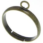Messing Ring Muffelbasis, antike Bronzefarbe plattiert, einstellbar, frei von Blei & Kadmium, 3mm, Bohrung:ca. 1mm, Größe:7, 500PCs/Tasche, verkauft von Tasche