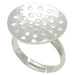 Messing Sieb Ring Basis, silberfarben plattiert, einstellbar, frei von Blei & Kadmium, 18x18mm, Größe:7, 200PCs/Tasche, verkauft von Tasche