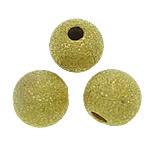 Messing Sternenstaub Perlen, rund, goldfarben plattiert, Falten, frei von Blei & Kadmium, 6mm, Bohrung:ca. 1.5mm, 3000PCs/Tasche, verkauft von Tasche
