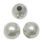 Messing Schmuckperlen, rund, silberfarben plattiert, glatt, frei von Blei & Kadmium, 5mm, Bohrung:ca. 1.5mm, 5000PCs/Tasche, verkauft von Tasche