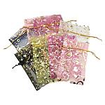 Organza Rechteck, Kunstdruck, transluzent, gemischte Farben, 50x70mm, 500PCs/Tasche, verkauft von Tasche