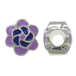 Zink Legierung Europa Perlen, Zinklegierung, mit Emaille, Blume, ohne troll, violett, frei von Nickel, Blei & Kadmium, 10.50x12x9mm, Bohrung:ca. 5mm, 10PCs/Tasche, verkauft von Tasche