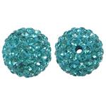 Harz Perlen Strass, rund, mit Strass, Aquamarin, 12x12mm, Bohrung:ca. 1mm, 10PCs/Tasche, verkauft von Tasche