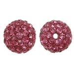 Harz Perlen Strass, rund, mit Strass, Vintage Rose, 10x10mm, Bohrung:ca. 1.5mm, 10PCs/Tasche, verkauft von Tasche