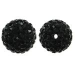 Harz Perlen Strass, rund, mit Strass, Jet schwarz, 12x12mm, Bohrung:ca. 1.5mm, 10PCs/Tasche, verkauft von Tasche