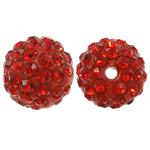 Harz Perlen Strass, rund, mit Strass, Hyazinth, 10x10mm, Bohrung:ca. 1.5mm, 10PCs/Tasche, verkauft von Tasche