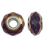 European Kristall Perlen, Rondell, Sterling Silber-Dual-Core ohne troll, metallische Farbe plattiert, 14x8mm, Bohrung:ca. 5mm, 20PCs/Tasche, verkauft von Tasche